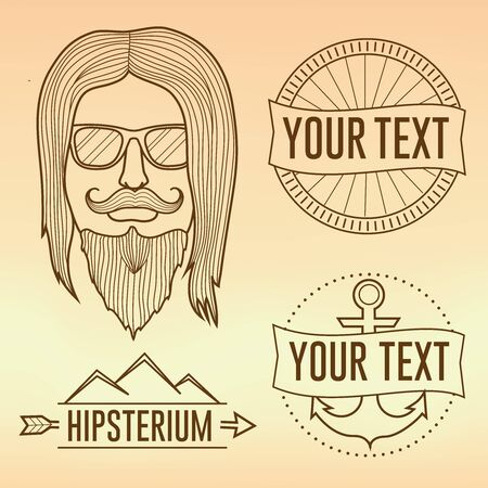 Hipster face illustration 向量圖像