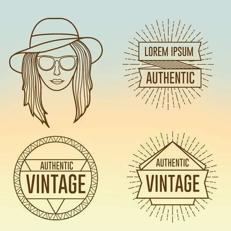 Hipster face illustration and logos