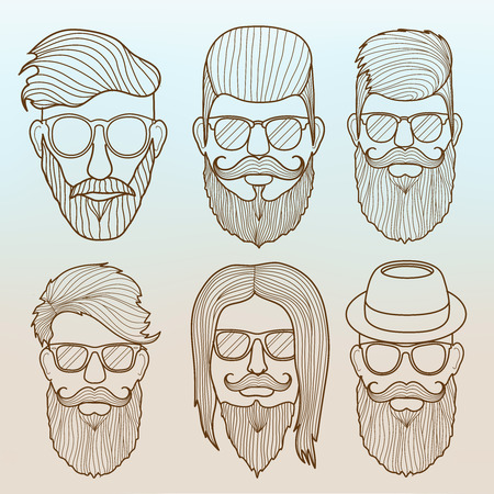 Linear vector hipster faces