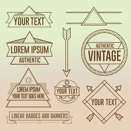 Linear Hipster logos symbols and banners 向量圖像