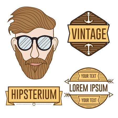 anchor man: Hipster face illustration and logos