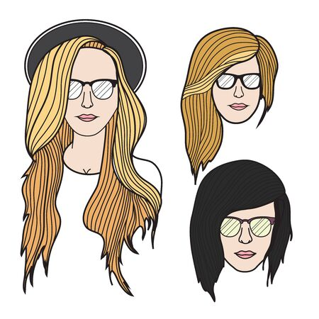 Hipster vector face illustration 向量圖像