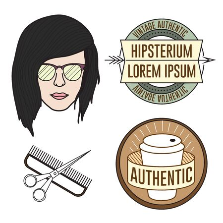 Hipster vector face illustration and logos