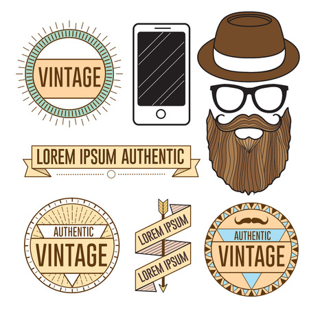 vintage stamp: Hipster vector face illustration and logos