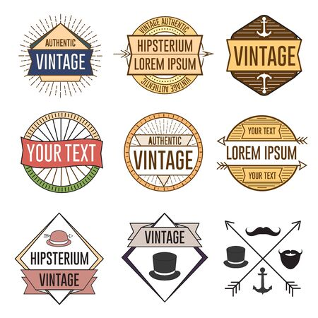 Vintage hipster  vector logos symbols and objects