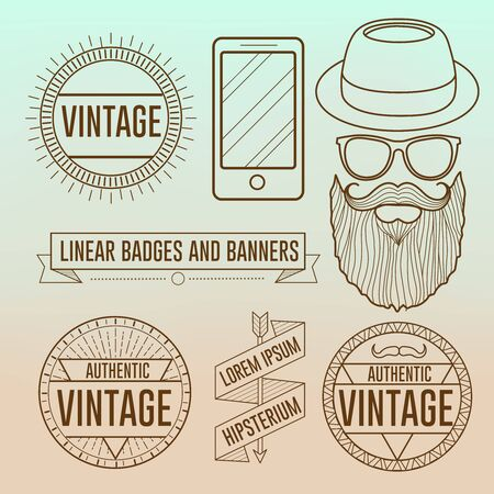 linear Hipster vector face illustration and logos