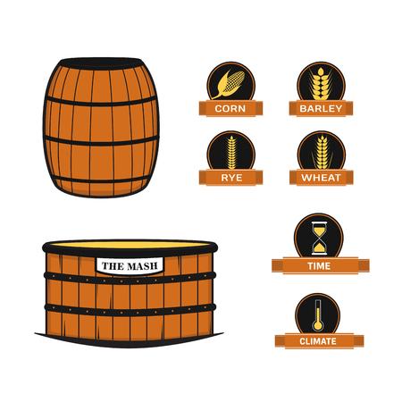 Distillery equipment vector set 向量圖像
