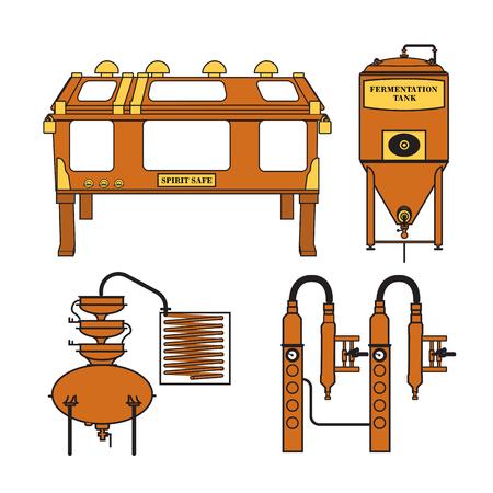 Distillery equipment vector set Illustration