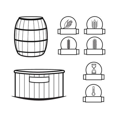 brandy: Distillery equipment vector set Illustration