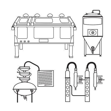 distilling: Distillery equipment vector set Illustration