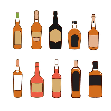 alcoholic drinks: Colorful alcoholic drinks vector bottles set