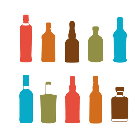 brandy: Colorful alcoholic drinks vector bottles set