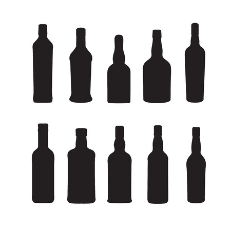 brandy: Silhoutte of drink bottles outline