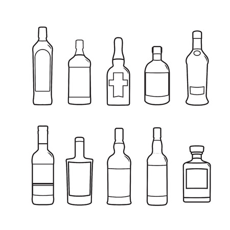Silhoutte of drink bottles outline