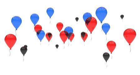 Formation of blue red and black balloons floating   Stock Photo