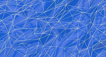 Background of blue and white polygons, abstract shapes, mesh  Imagens