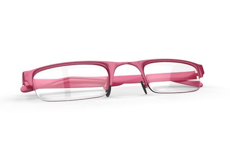 Folded pair of high fashion pink glasses