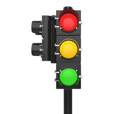 Street signal with all lights on Stock Photo