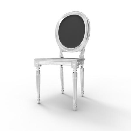 張り背中と白い椅子