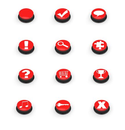 Click the red buttons to take an action Stock Photo