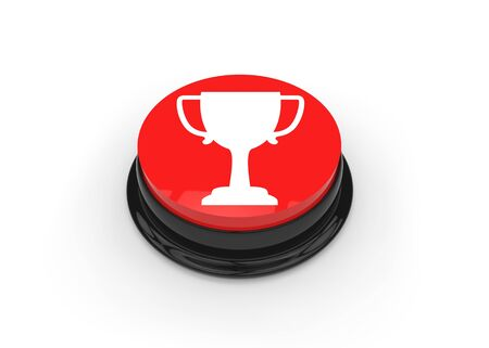 Click the red button to award trophy to winner Stock Photo