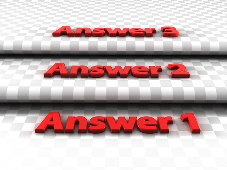 Three steps, three answers to choose from
