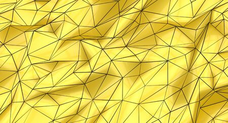 Background of yellow gold and black polygons, abstract shapes, mesh.