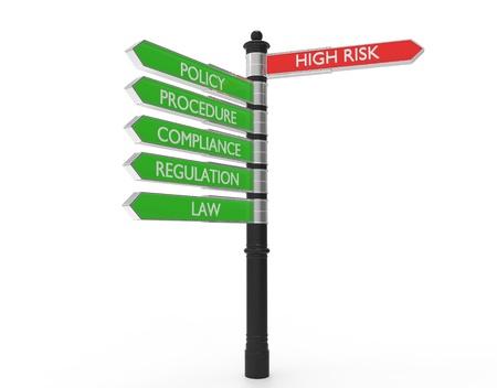Straat tekenen wijzen in de richting van een hoog risico of goede praktijken. Stockfoto