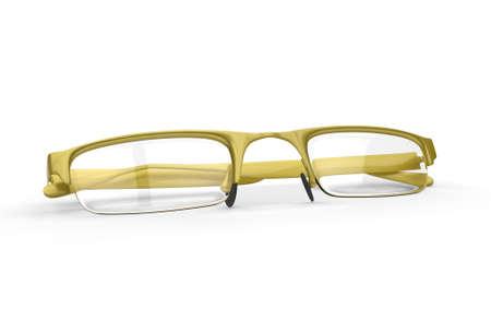 Yellow gold eyeglasses, folded
