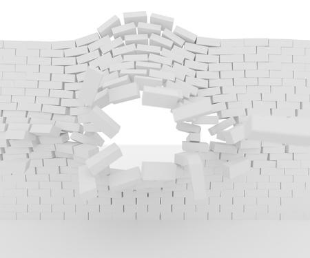 Gebogen bakstenen muur met gat doorgedrukt Stockfoto