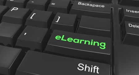 Keyboard focused on eLearning Stock Photo