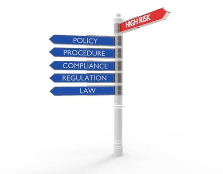policies: Street signs pointing in the direction of high risk or good practices.