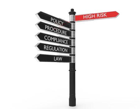Señales de la calle apuntando en la dirección de alto riesgo o buenas prácticas.