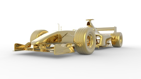 Gold race car in the Formula 1 style Stock Photo