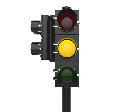 Traffic signal showing yellow caution