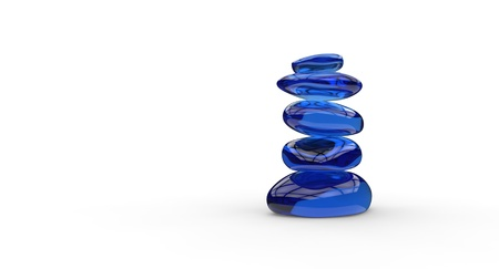 Five gorgeous glassy stones stacked
