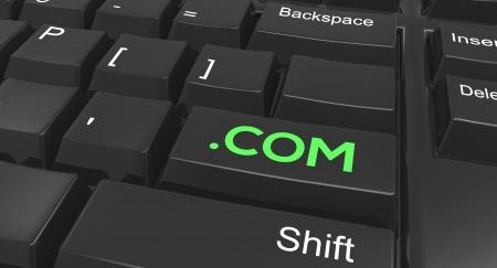 Keyboard focused on the  com enter key Stock Photo - 17330861