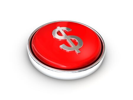 Red shiny dollar sign button Stock Photo