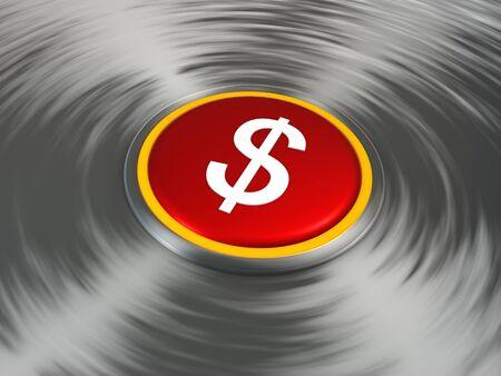 Dollar sign shiny push button 写真素材