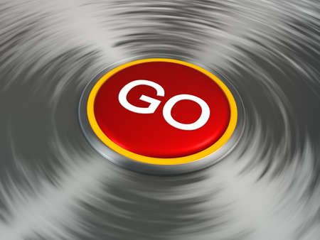 Red round button with GO