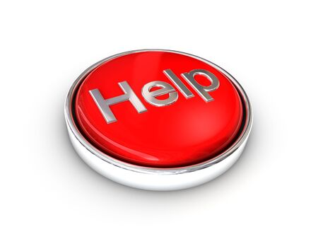 Red shiney help button Stock Photo
