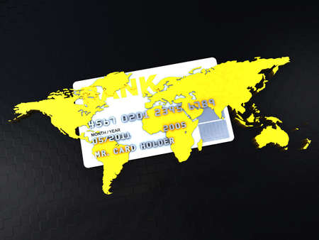 Credit card in the middle of a world map