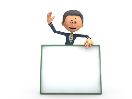 Business man waving with copy space Stock Photo