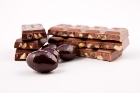 Chocolate bars and covered almonds
