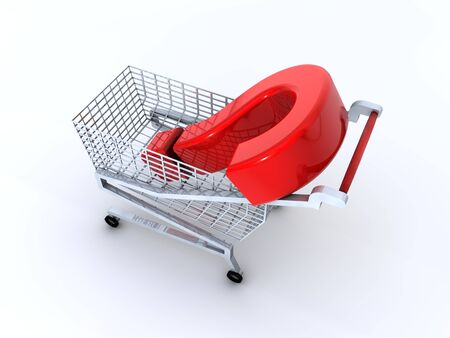 Supermarket shopping cart with red reflective question mark