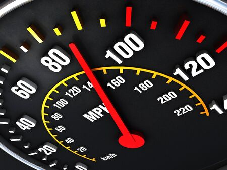 dashboard: Speedometer close up with vibrant colors and unique angle