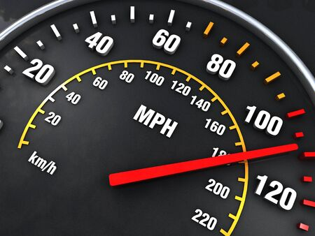 Speedometer close up with vibrant colors