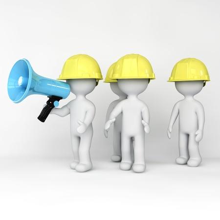 Workers holding loud speaker
