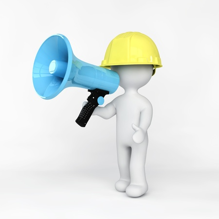 Worker talking in a megaphone