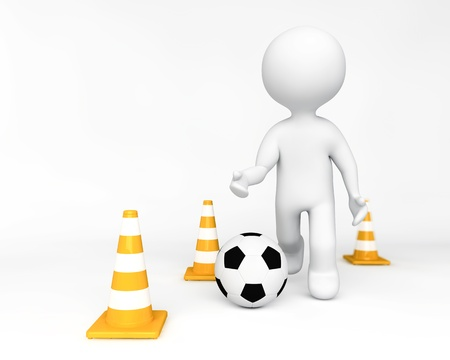 Person training playing soccer Stock Photo